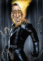 Ghost Rider N Cage Caricature by jonesmac2006