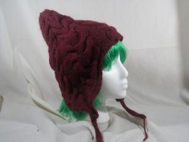 Burgundy Pixie Hat by Branxnia