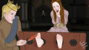 Joffrey tortures Sansa's ticklish feet! by marceloeguerrero