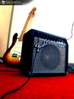 guitar with amp. photography by injured-eye