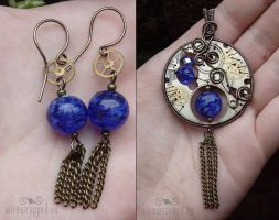 Steampunk watch blue set by ukapala