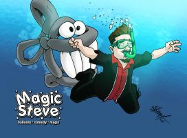 Magic Steve business card #1 by wheretheresawil
