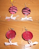 Pink Zebra Bottle cap earrings by Malice-Ghoststar