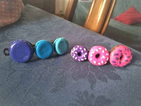 Donuts and Macarons Hair Clips by CCristinaCreations