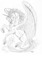 winged unicorn by Almalphia