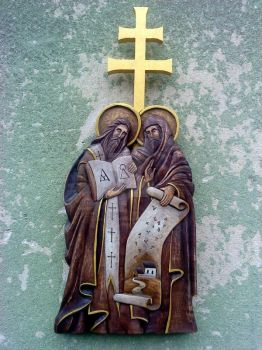 Saints Cyril and Methodius by Edita-Woodcarver
