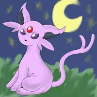 Espeon in the Moonlight by YoshiGamerGirl