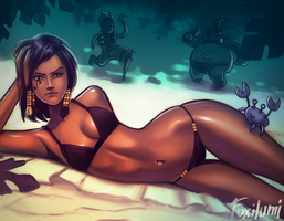 Pharah catching the sun by Foxilumi