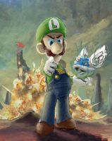 luigi death stare by SuperRobotRainbowOwl