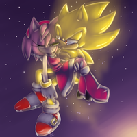 Super Sonic and Amy :speedpaint: by Blue-Chica