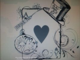 Alice in Wonderland inpired tattoo design by GrafixGirlIreland