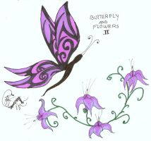 Butterfly and Flowers 2 by megatorg