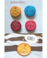 wild animal pinback buttons by michellescribbles