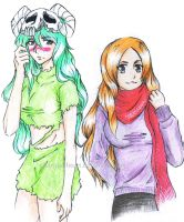 Neliel and Orihime by charcoal-heart