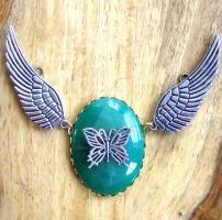 Steampunk Necklace wings gemstone and insect by GraceCM