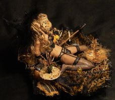 OOAK Halloween Trick Or Treat Witch Mixed Media 7 by GeorgeCalado