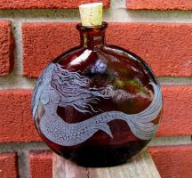 Mermaid Engraved on Recycled Glass Bottle by MadEtcha