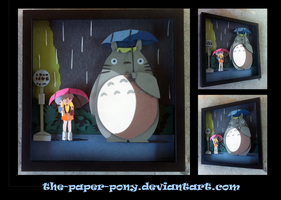Commission:  My Neighbor Totoro Shadowbox by The-Paper-Pony
