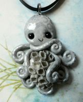 Gray Barnacled Octopus Necklace by BlackMagdalena