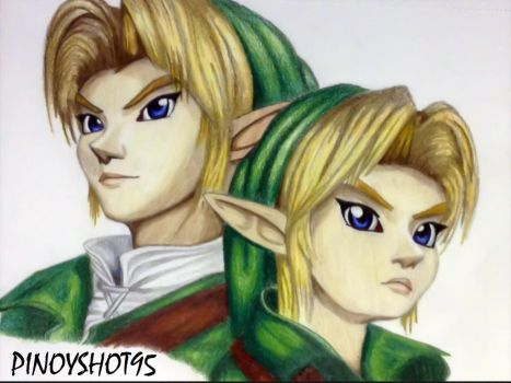 Link and Young Link from The Legend of Zelda by Pinoyshot95