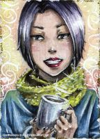 Vio and Coffee ACEO by AngieVX