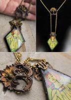 Glass Art Nouveau style Necklace by asunder