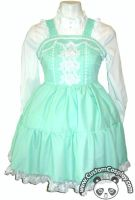 Mint jsk dress with rose lace by The-Cute-Storm