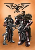 Inquisitor and Sororitas by Beaver-Skin