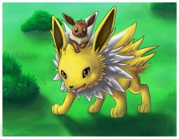 Jolteon Loves Eevee by kookybat
