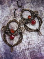 Wire Wrapped Chandelier Autumn Earrings by Lirimaer86