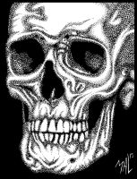 Human Skull in Stippling by OdditiesByErnie