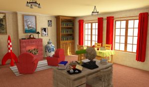 Tintin's Room - 3D SketchUP (Right View) by NatyBarbosa