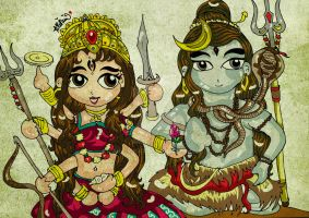 Durga Shakti and Lord Shiva by art-rinay