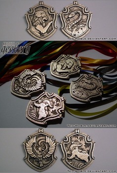 Hogwarts House Crest Pendants - GROUP by Teo-Hoble