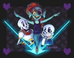 Undertale - Undyne, Papyrus, and Sans by cute-loot