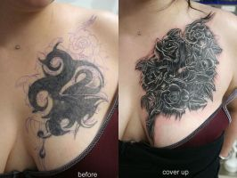 Rose new  Cover up Tattoo by 2Face-Tattoo