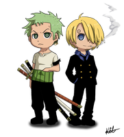 Chibi  Zoro and Sanji by Kay-Jay97