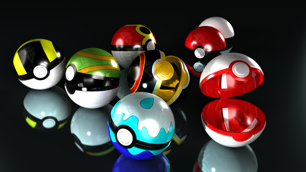 My Newest Pokeball Model by De4thPr00f