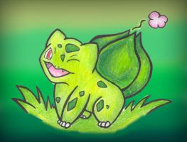 bulbasaur with backround by aquatica-monster