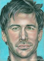 Joe Flanigan - colored pencil drawing by kad-portraits