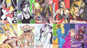 Pulp Girls sketchcard samples2 by jasinmartin