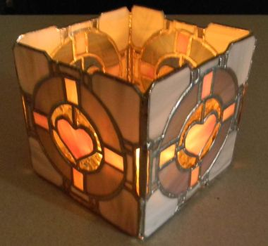 Companion Cube Candle Holder by GhostyBoo
