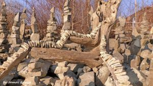 Driftwood and stone balance art in Hungary bykanya by tom-tom1969