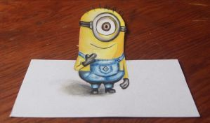 Despicable Me Minion (3D) Chalk Drawing by AMystery1994