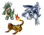 Fakemon Starters - First Evolution by Icedragon300