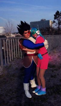 Vegeta and Bulma hug by PiccolaKetty