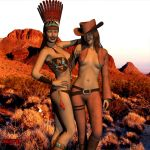 Rina Request - Indian Cat and Cowgirl Jen by NightFall-1