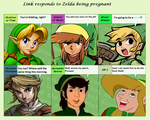 Link responds to Zelda's pregnancy by QueenMarine