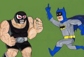 Batman vs. Bane: 1960s by Bleu-Ninja