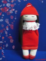 Girl in Red II - sock doll by httpecho